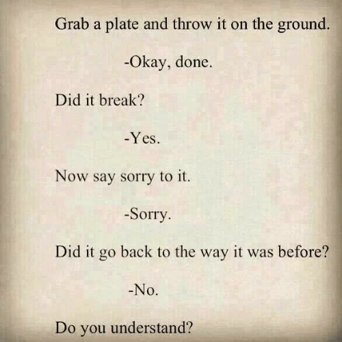 Sorry, Break, and Okay: Grab a plate and throw it on the ground.  Okay, done  Did it break?  -Yes  Now say sorry to it.  -Sorry  Did it go back to the way it was before?  No.  Do you understand?