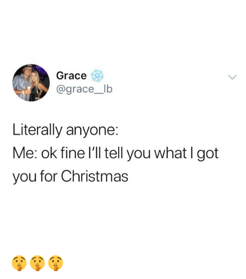 Christmas, Memes, and 🤖: Grace  @grace_lb  Literally anyone:  Me: ok fine I'll tell you what I got  you for Christmas 🤫🤫🤫