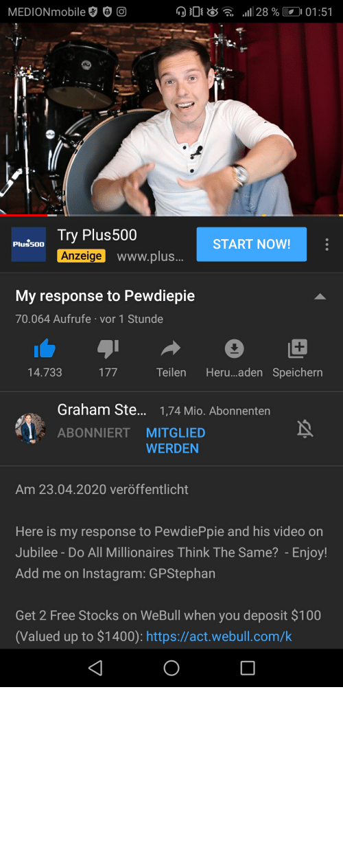 "millionaires: Graham Stephan from the Jubile video ""Do all millionaires think the same"" has responded to Pewdiepie's reactions"