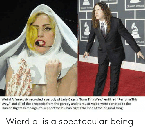 "Grammy Awards, Music, and Weird: GRAMMY AWARDS  Weird Al Yankovic recorded a parody of Lady Gaga's ""Born This Way,"" entitled ""Perform This  Way,"" and all of the proceeds from the parody and its music video were donated to the  Human Rights Campaign, to support the human rights themes of the original song Wierd al is a spectacular being"