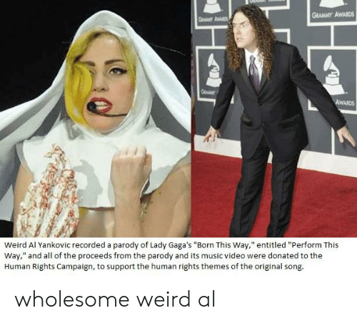 "Grammy Awards, Music, and Weird: GRAMMY AWARDS  Weird Al Yankovic recorded a parody of Lady Gaga's ""Born This Way,"" entitled ""Perform This  Way,"" and all of the proceeds from the parody and its music video were donated to the  Human Rights Campaign, to support the human rights themes of the original song wholesome weird al"