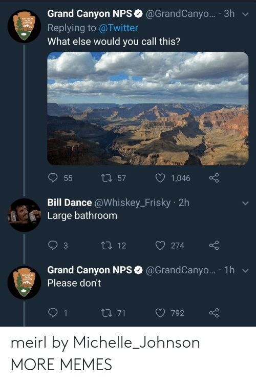 Michellee: Grand Canyon NPS @GrandCanyo... 3h v  Replying to @Twitter  What else would you call this?  NATIONAL  PARK  SERVICE  t 57  1,  046  Bill Dance @Whiskey_Frisky 2h  Large bathroom  3  274  Grand Canyon NPS @GrandCanyo... 1h  Please don't  NATIONAL  PARK  SERVICE  792 meirl by Michelle_Johnson MORE MEMES