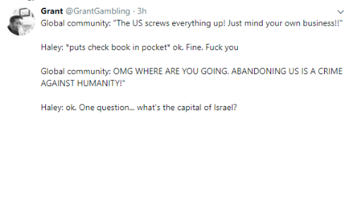 """Community, Crime, and Fuck You: Grant @GrantGambling 3h  Global community: """"The US screws everything up! Just mind your own business!!""""  Haley: """"puts check book in pocket* ok. Fine. Fuck you  Global community: OMG WHERE ARE YOU GOING. ABANDONING US IS A CRIME  AGAINST HUMANITY!""""  Haley: ok. One question... what's the capital of Israel?"""