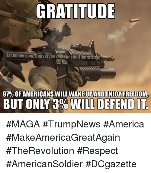America, Respect, and Freedom: GRATITUDE  facehook.com/Conservativiesbxposimgunerantes  91% OF AMERICANS WILL WAKEUPANDENJOY FREEDOM.  BUT ONV3%  WILL DEFEND IT #MAGA #TrumpNews #America #MakeAmericaGreatAgain #TheRevolution #Respect #AmericanSoldier #DCgazette
