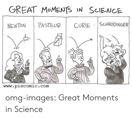 Omg, Tumblr, and Blog: GREAT MOMENTS IN SCIENCE  NEWTON PASTEUR  | CURIE.İScHR0DINGER  www.piecomic.com omg-images:  Great Moments in Science