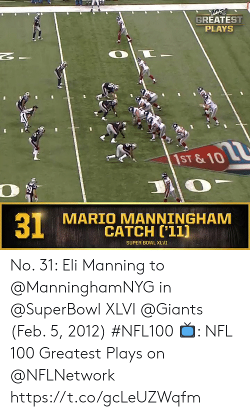 Eli Manning, Memes, and Nfl: GREATEST  PLAYS  2  1ST &10  MARIO MANNINGHAM  CATCH ['11]  31  SUPER BOWL XLVI No. 31: Eli Manning to @ManninghamNYG in @SuperBowl XLVI @Giants (Feb. 5, 2012) #NFL100  📺: NFL 100 Greatest Plays on @NFLNetwork https://t.co/gcLeUZWqfm