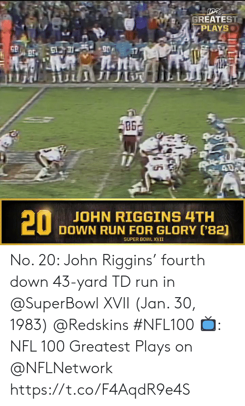 glory: GREATEST  PLAYS  61731 90  ПЛ  40  20  JOHN RIGGINS 4TH  DOWN RUN FOR GLORY ('82)  SUPER BOWL XVII No. 20: John Riggins' fourth down 43-yard TD run in @SuperBowl XVII (Jan. 30, 1983) @Redskins #NFL100  📺: NFL 100 Greatest Plays on @NFLNetwork https://t.co/F4AqdR9e4S