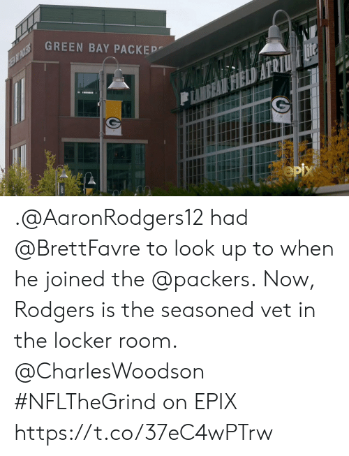 vet: GREEN BAY PACKEP  REE BIT PACKERS  Hite  FIELD  eрх .@AaronRodgers12 had @BrettFavre to look up to when he joined the @packers.  Now, Rodgers is the seasoned vet in the locker room. @CharlesWoodson   #NFLTheGrind on EPIX https://t.co/37eC4wPTrw