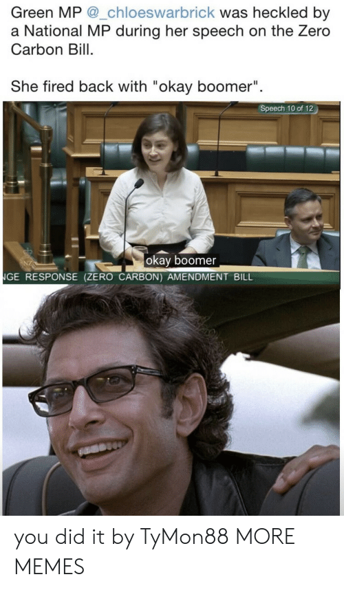 "Dank, Memes, and Target: Green MP @_chloeswarbrick was heckled by  a National MP during her speech on the Zero  Carbon Bill  She fired back with ""okay boomer""  II  Speech 10 of 12  okay boomer  NGE RESPONSE (ZERO CARBON) AMENDMENT BILL you did it by TyMon88 MORE MEMES"