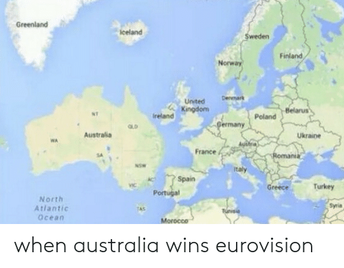 Australia, France, and Norway: Greenland  celand  weden  Finland  Norway  United Dm  Kingdom  Belarus  NT  Poland  OLD  ermany  Australia  Ukraine  WA  France  nda  it  /--> Spain  Portugal  eece  Turkey  North  Atlantic  Ocean  Syia  Morocce when australia wins eurovision