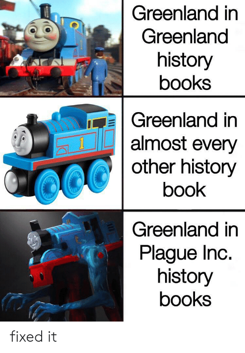 Books, Book, and History: Greenland in  Greenland  history  books  Greenland in  almost every  other history  1  book  Greenland in  Plague Inc.  history  books  AE fixed it