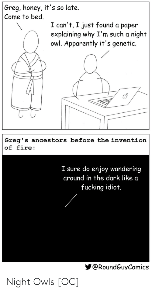 owl: Greg, honey, it's so late.  Come to bed.  I can't, I just found a paper  explaining why I'm such a night  owl. Apparently it's genetic.  Greg's ancestors before the invention  of fire:  I sure do enjoy wandering  around in the dark like a  fucking idiot.  @RoundGuyComics Night Owls [OC]