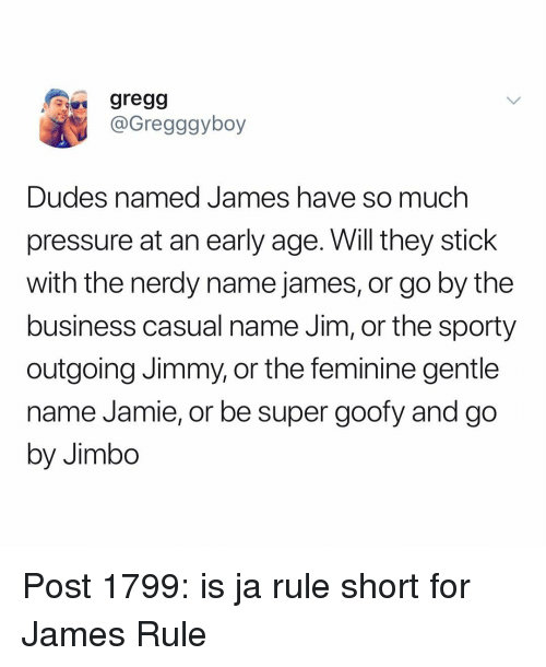 jimbo: gregg  @Gregggyboy  Dudes named James ha  pressure at an early age. Will they stick  with the nerdy name james, or go by the  business casual name Jim, or the sporty  outgoing Jimmy, or the feminine gentle  name Jamie, or be super goofy and go  by Jimbo  ve so much Post 1799: is ja rule short for James Rule