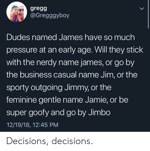 Decisions Decisions: gregg  @Gregggyboy  Dudes named James have so much  pressure at an early age. Will they stick  with the nerdy name james, or go by  the business casual name Jim, or the  sporty outgoing Jimmy, or the  feminine gentle name Jamie, or be  super goofy and go by Jimbo  12/19/18, 12:45 PM Decisions, decisions.
