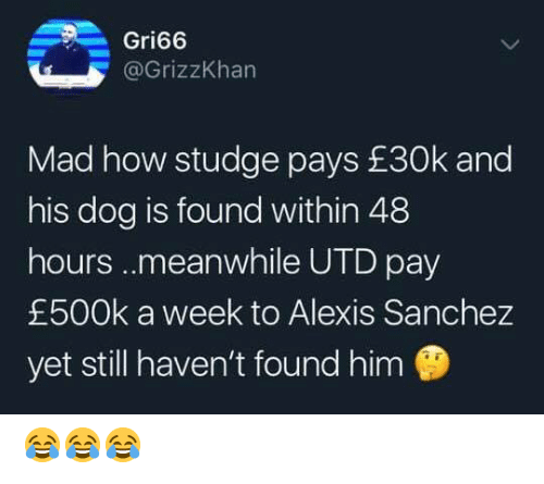48 hours: Gri66  @GrizzKhan  Mad how studge pays £30k and  his dog is found within 48  hours..meanwhile UTD pay  £500k a week to Alexis Sanchez  yet still haven't found him 😂😂😂