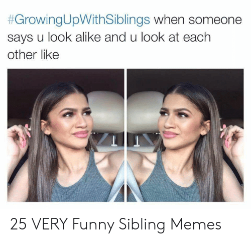 Sibling Memes:  #GrowingUpWithSiblings when someone  says u look alike and u look at each  other like 25 VERY Funny Sibling Memes