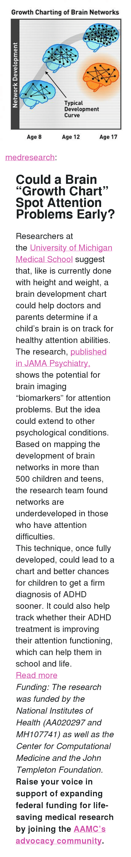 "Children, Community, and Curving: Growth Charting of Brain Networks  Typical  Development  Curve  3  Age 8  Age 12  Age 17 <p><a href=""http://medresearch.tumblr.com/post/143342934359/could-a-brain-growth-chart-spot-attention"" class=""tumblr_blog"">medresearch</a>:</p>  <blockquote><h2> Could a Brain ""Growth Chart"" Spot Attention Problems Early?  </h2><p>Researchers at the <a href=""https://medicine.umich.edu/medschool/"">University of Michigan Medical School</a> suggest that, like is currently done with height and weight, a brain development chart could help doctors and parents determine if a child's brain is on track for healthy attention abilities.</p><p>The research, <a href=""http://archpsyc.jamanetwork.com/article.aspx?articleid=2513687"">published in JAMA Psychiatry,</a> shows the potential for brain imaging ""biomarkers"" for attention problems. But the idea could extend to other psychological conditions.</p><p>Based on mapping the development of brain networks in more than 500 children and teens, the research team found networks are underdeveloped in those who have attention  difficulties.</p><p>This technique, once fully developed, could lead to a chart and better chances for  children to get a firm diagnosis of ADHD sooner. It could also help  track whether their ADHD treatment is improving their attention  functioning, which can help them in school and life.</p><p><a href=""http://The%20research,%20published%20in%20JAMA%20Psychiatry,%20shows%20the%20potential%20for%20brain%20imaging%20%E2%80%9Cbiomarkers%E2%80%9D%20for%20attention%20problems.%20But%20the%20idea%20could%20extend%20to%20other%20psychological%20conditions."">Read more</a></p><p><i>Funding: The research was funded by the National Institutes of Health  (AA020297 and MH107741) as well as the Center for Computational Medicine  and the John Templeton Foundation.</i></p><p>  <b>Raise your voice in support of expanding federal funding for life-saving medical research by joining the </b><b><a href=""http://t.umblr.com/redirect?z=http%3A%2F%2Fwww.aamcaction.org%2Flanding%2Fresearch-means-hope&amp;t=MjQ4NjBiNzllMmMzZDhhMzFjZDVkNDljYTdlMGMzMWY3ZjY0ZTk3MCwyTkdVR0htSA%3D%3D"">AAMC's advocacy community</a>.</b>   <br/></p></blockquote>"