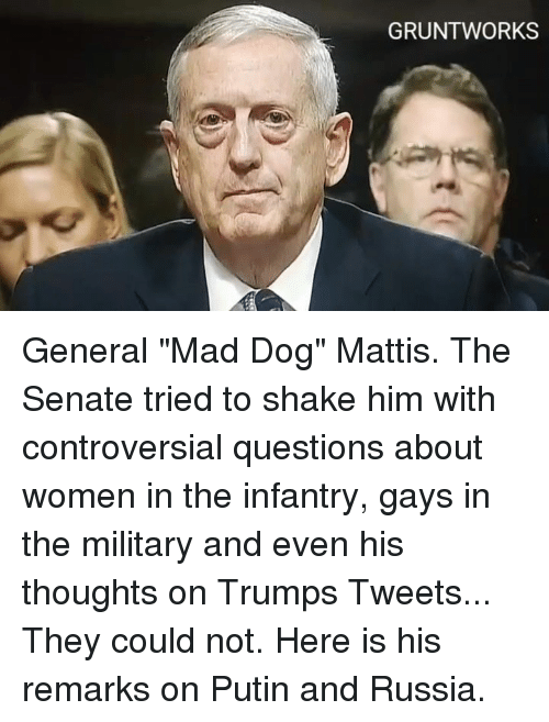 "Memes, Putin, and Russia: GRUNT WORKS General ""Mad Dog"" Mattis.   The Senate tried to shake him with controversial questions about women in the infantry, gays in the military and even his thoughts on Trumps Tweets... They could not.  Here is his remarks on Putin and Russia."