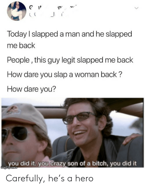 legit: Gt  Today I slapped a man and he slapped  me back  People, this guy legit slapped me back  How dare you slap a woman back?  How dare you?  you did it. you Crazy son of a bitch, you did it  imgilip.com Carefully, he's a hero