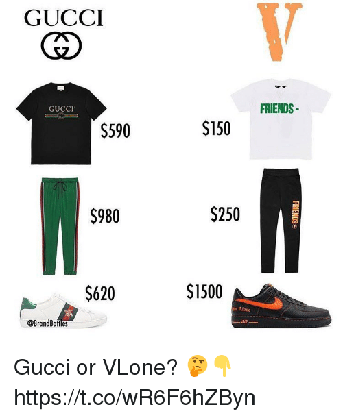 Being Alone, Friends, and Gucci: GUCCI  62  FRIENDS  GUCCI  $590  $150  $980  $250  $620  $1500  s Alone  @BrandBattles  AIR- Gucci or VLone? 🤔👇 https://t.co/wR6F6hZByn