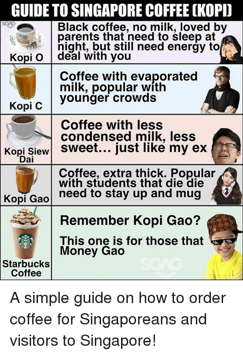 Dieing Dying: GUIDE TO SINGAPORE COFFEE OKOPD  Black coffee, no milk, loved by  parents that need to sleep at  night, but still need energy to  Kopi o deal with you  Coffee with evaporated  milk, popular with  younger crowds  Kopi C  Coffee with less  condensed milk, less  Kopi Siew sweet... just like my ex  Dai  Coffee, extra thick. Popular  with students that die die  need to stay up and mug  Kopi Gao  Remember Kopi Gao?  This one is for those that  Money Gao  Starbucks  Coffee A simple guide on how to order coffee for Singaporeans and visitors to Singapore!