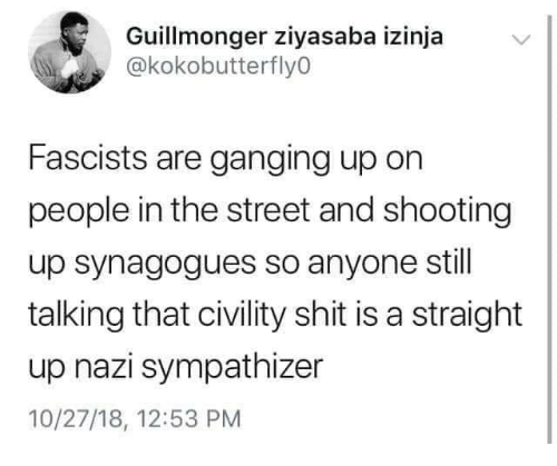 Shit, Nazi, and The Street: Guillmonger ziyasaba izinja  @kokobutterfly0  Fascists are ganging up on  people in the street and shooting  up synagogues so anyone stil  talking that civility shit is a straight  up nazi sympathizer  10/27/18, 12:53 PM