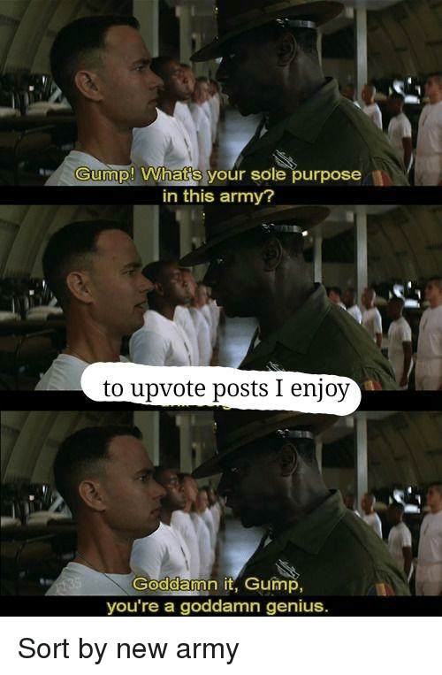 Army, Genius, and New: Gump! What's your sole purpose  in this army?  to upvote posts I enjoy  Goddamn it, Gump,  you're a goddamn genius. Sort by new army