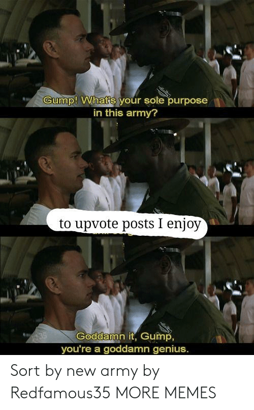 Dank, Memes, and Target: Gump! What's your sole purpose  in this army?  to upvote posts I enjoy  Goddamn it, Gump,  you're a goddamn genius. Sort by new army by Redfamous35 MORE MEMES