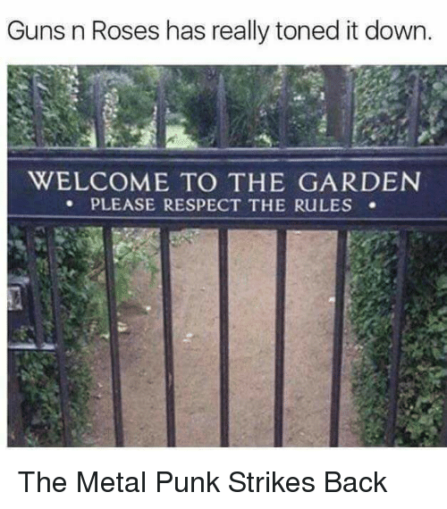 Guns, Memes, and Respect: Guns n Roses has really toned it down.  WELCOME TO THE GARDEN  PLEASE RESPECT THE RuLES The Metal Punk Strikes Back