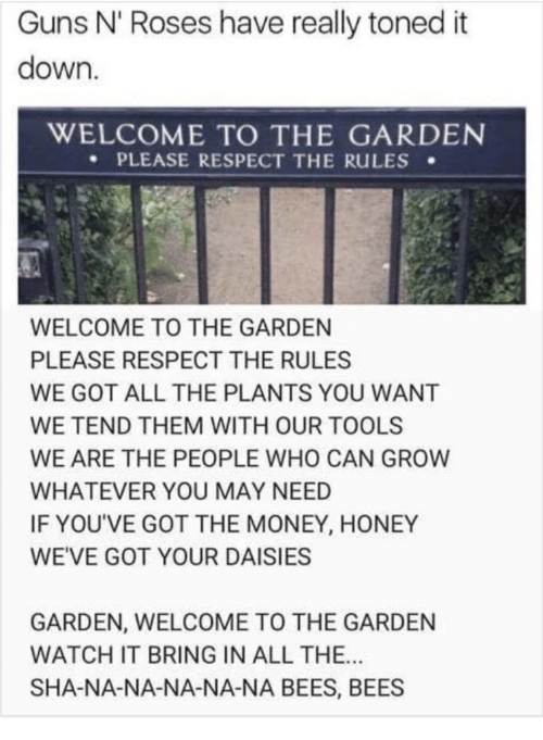 sha: Guns N' Roses have really toned it  down.  WELCOME TO THE GARDEN  PLEASE RESPECT THE RuLES .  WELCOME TO THE GARDEN  PLEASE RESPECT THE RULES  WE GOT ALL THE PLANTS YOU WANT  WE TEND THEM WITH OUR TOOLS  WE ARE THE PEOPLE WHO CAN GROW  WHATEVER YOU MAY NEED  IF YOU'VE GOT THE MONEY, HONEY  WEVE GOT YOUR DAISIESS  GARDEN, WELCOME TO THE GARDEN  WATCH IT BRING IN ALL THE..  SHA-NA-NA-NA-NA-NA BEES, BEES