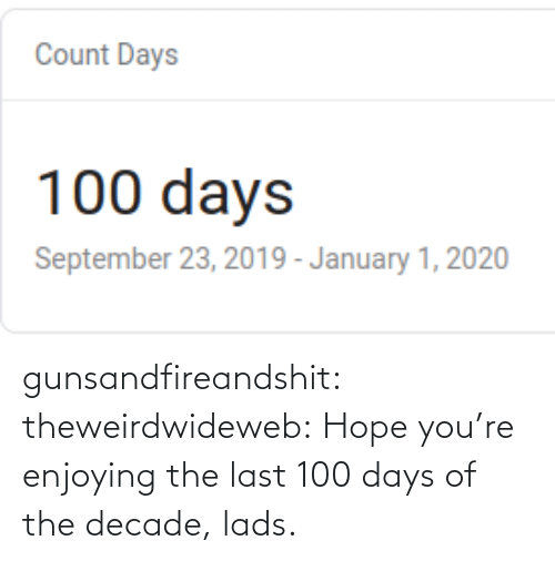 media: gunsandfireandshit: theweirdwideweb:  Hope you're enjoying the last 100 days of the decade, lads.