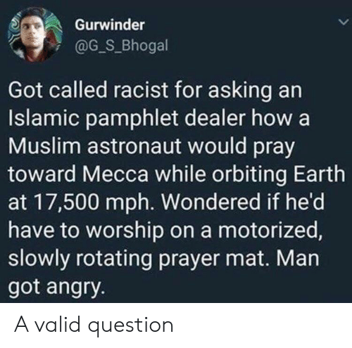mat: Gurwinder  @G_S_Bhogal  Got called racist for asking an  Islamic pamphlet dealer how a  Muslim astronaut would pray  toward Mecca while orbiting Earth  at 17,500 mph. Wondered if he'd  have to worship on a motorized,  slowly rotating prayer mat. Man  got angry. A valid question