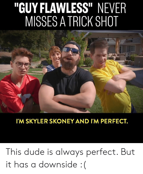 """Dank, Dude, and Never: """"GUY FLAWLESS"""" NEVER  MISSES A TRICK SHOT  Il  I'M SKYLER SKONEY AND I'M PERFECT. This dude is always perfect. But it has a downside :("""