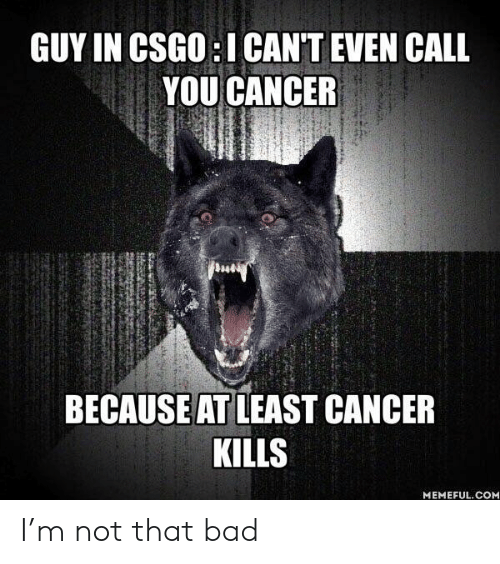 Bad, Cancer, and Csgo: GUY IN CSGO:I CANT EVEN CALL  YOU CANCER  BECAUSE AT LEAST CANCER  KILLS  MEMEFUL.CONM I'm not that bad