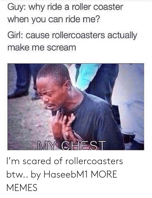 My Chest: Guy: why ride a roller coaster  when you can ride me?  Girl: cause rollercoasters actually  make me scream  MY CHEST I'm scared of rollercoasters btw.. by HaseebM1 MORE MEMES