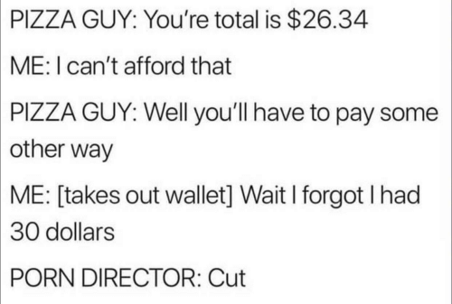 Pizza, Porn, and Total: GUY: You're total is $26.34  PIZZA  ME: I can't afford that  PIZZA  GUY: Well you'll have to pay some  other way  ME:  [takes out wallet] Wait I forgot I had  30  dollars  PORN  DIRECTOR: Cut