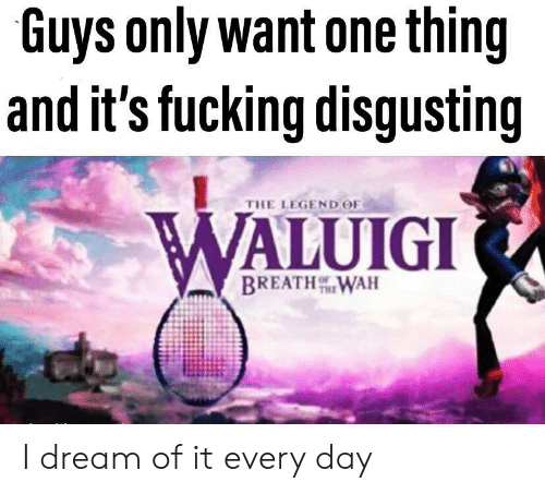 Fucking, Legend, and Dream: Guys only want one thing  and it's fucking disgusting  THE LEGEND OF  WALUIGI  BREATHWAH I dream of it every day