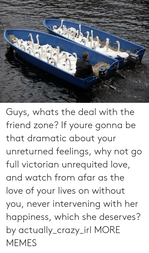 Crazy, Dank, and Love: Guys, whats the deal with the friend zone? If youre gonna be that dramatic about your unreturned feelings, why not go full victorian unrequited love, and watch from afar as the love of your lives on without you, never intervening with her happiness, which she deserves? by actually_crazy_irl MORE MEMES