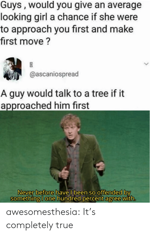 Hundred: Guys , would you give an average  looking girl a chance if she were  to approach you first and make  first move ?  @ascaniospread  A guy would talk to a tree if it  approached him first  Never before have I been so offended by  something I one hundred percent agree with. awesomesthesia:  It's completely true