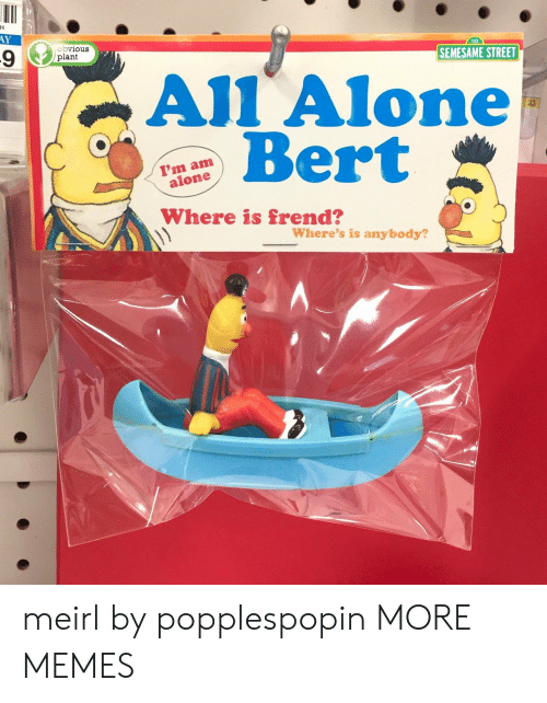 bert: H  AY  obvious  plant  SEMESAME STREET  All Alone  Bert  I'm am  alone  Where is frend?  Where's is anybody? meirl by popplespopin MORE MEMES