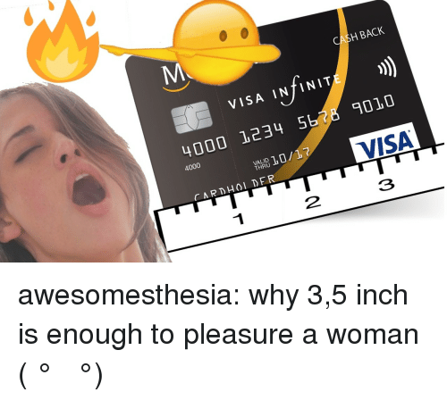 Tumblr, Blog, and Http: H BACK  VISA INTINIT  4000 1234 5  010  4000  VALID  THRU  3 awesomesthesia:  why 3,5 inch is enough to pleasure a woman ( ͡° ͜ʖ ͡°)