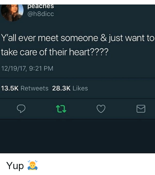 Memes, Heart, and 🤖: @h8dico  Y'all ever meet someone & just want to  take care of their heart????  12/19/17, 9:21 PM  13.5K Retweets 28.3K Likes  12 Yup 🙇