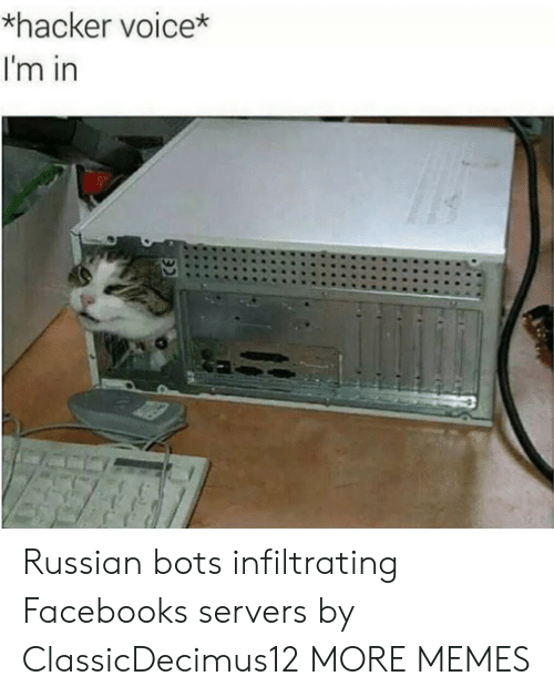 bots: *hacker voice*  I'm in Russian bots infiltrating Facebooks servers by ClassicDecimus12 MORE MEMES