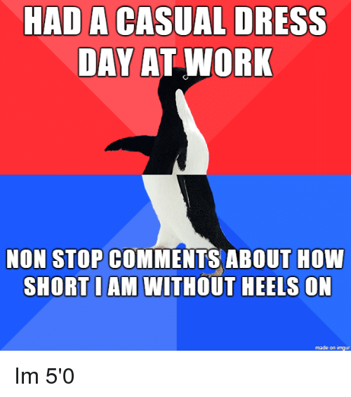 Work, Dress, and Imgur: HAD A CASUAL DRESS  DAY AT WORK  NON STOP COMMENTS ABOUT HOW  SHORT I AM WITHOUT HEELS ON  made on imgur Im 5'0
