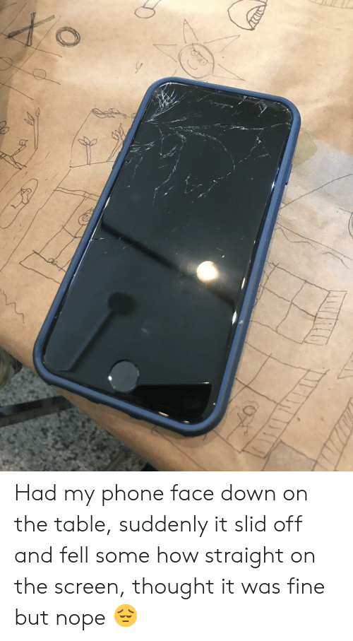 Phone, Nope, and Thought: Had my phone face down on the table, suddenly it slid off and fell some how straight on the screen, thought it was fine but nope 😔