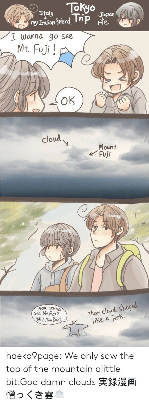 the mountain: haeko9page:  We only saw the top of the mountain alittle bit.God damn clouds実録漫画憎っくき雲☁️