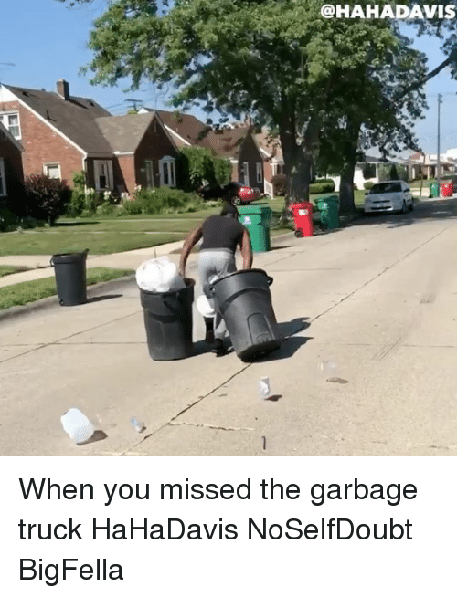 Memes, 🤖, and Garbage: @HAHADAVIS When you missed the garbage truck HaHaDavis NoSelfDoubt BigFella