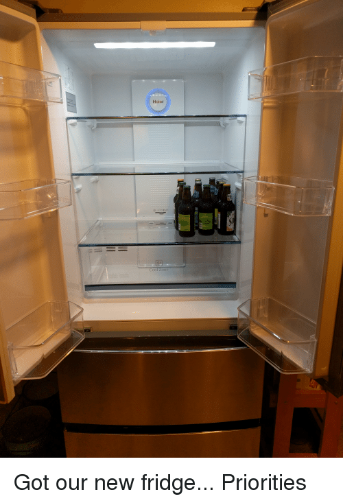 Funny, Cool, and Got: Haier  sc  Cool ZLone Got our new fridge... Priorities