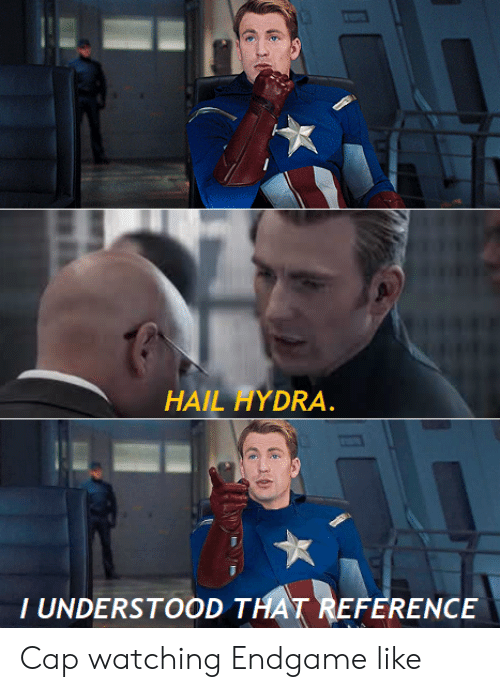 endgame: HAIL HYDRA.  T UNDERSTOOD THAT REFERENCE Cap watching Endgame like