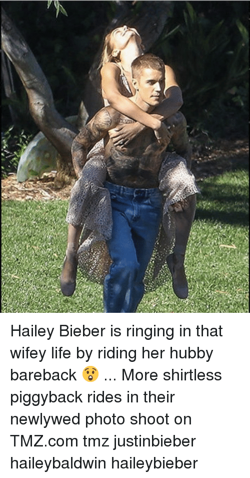 Life, Memes, and tmz.com: Hailey Bieber is ringing in that wifey life by riding her hubby bareback 😲 ... More shirtless piggyback rides in their newlywed photo shoot on TMZ.com tmz justinbieber haileybaldwin haileybieber